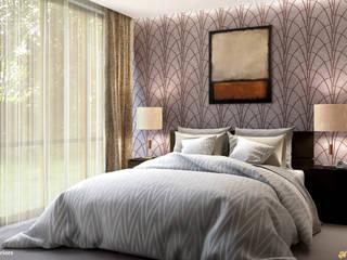 CHISWICK PARK – LONDON - ENGLAND Camera da letto moderna di KRISZTINA HAROSI - ARCHITECTURAL RENDERING Moderno