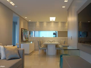 Revestimentos 3D Salas de estar modernas por Ju Nejaim Arquitetura Moderno