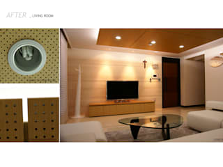 가족의 라이프 스타일과 취향을 담은 아파트 인테리어 미니멀리스트 거실 by 스튜디오메조 건축사사무소 미니멀