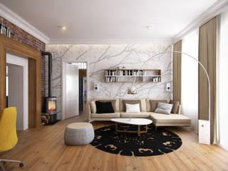 Projekt wnętrza salonu z czerwoną cegłą w kamienicy - Tissu. Klasyczny salon od TISSU Architecture Klasyczny