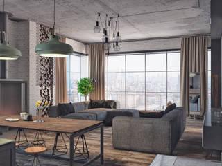 """Апартаменты """"Industrial"""": Гостиная в . Автор – Grafit Architects, Лофт"""