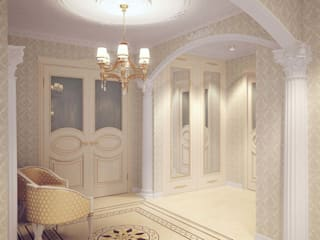 Classic style corridor, hallway and stairs by Студия дизайна интерьера 'Золотое сечение' Classic