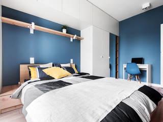 JF architektura wnętrz Katarzyna Janus-Fic Dormitorios de estilo moderno Tablero DM Azul