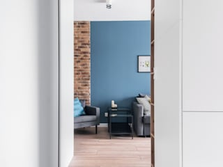 JF architektura wnętrz Katarzyna Janus-Fic Pasillos, vestíbulos y escaleras de estilo moderno Ladrillos Azul