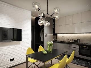 Y.F.architects Cocinas de estilo industrial Ladrillos Gris