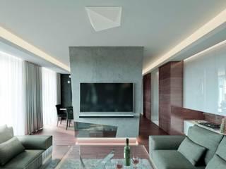Apartament w rytmie rocka w Warszawie. Nowoczesny salon od TISSU Architecture Nowoczesny