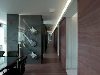 Apartament w rytmie rocka w Warszawie. Nowoczesny korytarz, przedpokój i schody od TISSU Architecture Nowoczesny