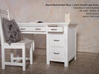 Schreibtisch mit Schubladen in Alt weiß:  Arbeitszimmer von Massiv aus Holz
