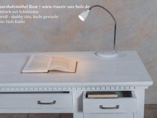 Schreibtisch mit Schubladen in Alt weiß von Massiv aus Holz Mediterran Holz Holznachbildung