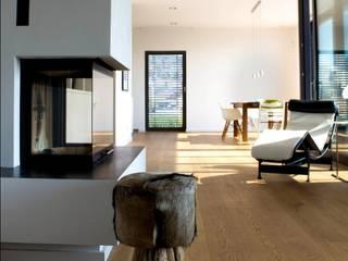 Privathaus A: moderne Wohnzimmer von ALEXA SCHRAVERUS