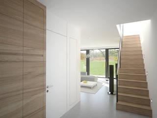 Rustic style corridor, hallway & stairs by bedesign Rustic