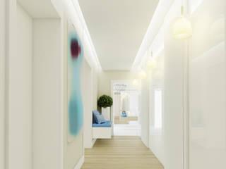 Projekt wnętrza eleganckiego apartamentu w naturalnych barwach - Tissu. Nowoczesny korytarz, przedpokój i schody od TISSU Architecture Nowoczesny