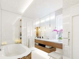 Projekt wnętrza eleganckiego apartamentu w naturalnych barwach - Tissu. Klasyczna łazienka od TISSU Architecture Klasyczny
