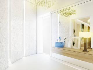 Projekt wnętrza eleganckiego apartamentu w naturalnych barwach - Tissu. Klasyczny korytarz, przedpokój i schody od TISSU Architecture Klasyczny
