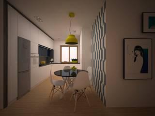 Kuchnia w domu jednorodzinnym w Pabianicach. Skandynawska kuchnia od Martyna Karczewska projektowanie wnętrz Skandynawski