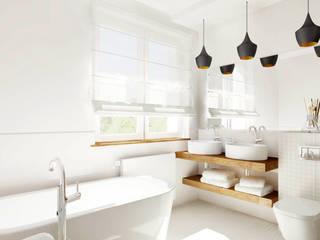 Łazienka - biel i drewno: styl , w kategorii  zaprojektowany przez Trykowska Studio