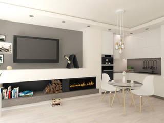 Salon z aneksem kuchennym: styl , w kategorii  zaprojektowany przez Trykowska Studio