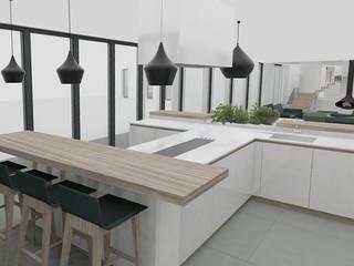 """Cuisine en """"H"""" et comptoir sur mesure: Cuisine de style  par Yeme + Saunier"""