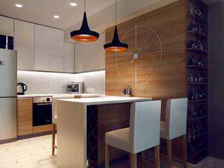 Проект White & Wood Кухня в скандинавском стиле от M5 studio Скандинавский