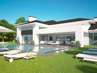 Villa San Roque Club 72 Benjumea Arquitectos Casas de estilo moderno Blanco