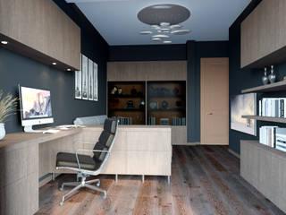 Визуализация части квартиры: Рабочие кабинеты в . Автор – AT3D