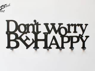 Wieszak na ubrania Don't worry be happy, dekoracja, pomysł na prezent Art-Steel Ściany i podłogiDekoracje ścienne Żelazo/Stal Czarny