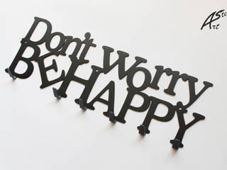 Wieszak na ubrania Don't worry be happy, dekoracja, pomysł na prezent Art-Steel Korytarz, hol i schodySzafy i wieszaki Żelazo/Stal Czarny