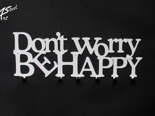 Wieszak na ubrania Don't worry be happy, dekoracja, pomysł na prezent Art-Steel Ściany i podłogiDekoracje ścienne Żelazo/Stal Biały