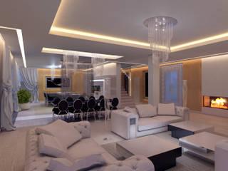 Dom Konstancin: styl , w kategorii Salon zaprojektowany przez AFD Interiors