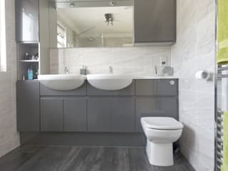Gloss Grey Bathroom with double sinks:  Commercial Spaces by Bathrooms By Premier
