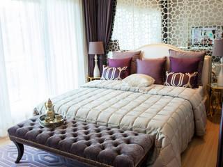Mirrored Headboard:  Bedroom by Gracious Luxury Interiors