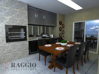 Sacada Gourmet Varandas, alpendres e terraços modernos por RAGGIO ARQUITETURA Moderno