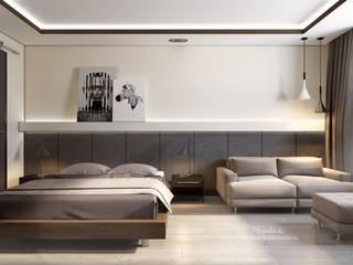 Дизайн-проект однокомнатной квартиры в стиле минимализм: Спальни в . Автор – Студия дизайна интерьера «Чердак»