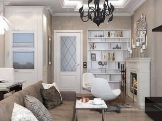 Дизайн-проект интерьера 3х-комнатной квартиры в стиле фьюжн: Гостиная в . Автор – Студия дизайна интерьера «Чердак»