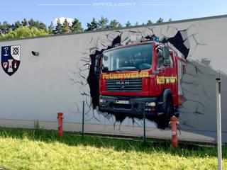 Feuerwehr für die Bundeswehr an die Fassade gebracht Ausgefallene Autohäuser von Wandgestaltung Graffiti Airbrush von Appolloart Ausgefallen