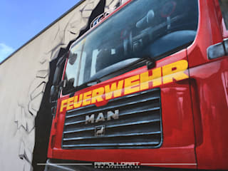 Feuerwehr für die Bundeswehr an die Fassade gebracht von Wandgestaltung Graffiti Airbrush von Appolloart Ausgefallen