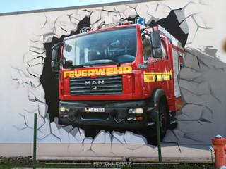 Feuerwehr für die Bundeswehr an die Fassade gebracht Ausgefallene Veranstaltungsorte von Wandgestaltung Graffiti Airbrush von Appolloart Ausgefallen