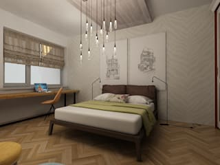 Dstudio.M Eclectic style bedroom Wood Beige