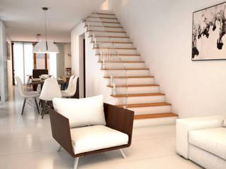 Casa do Cajueiro: Salas de estar  por Felzemburgh & Menezes arquitetura e engenharia ,Moderno