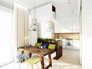 Apartament w stylu wakacyjnym na warszawskiej Saskiej Kępie - Tissu. Nowoczesna kuchnia od TISSU Architecture Nowoczesny