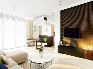 Apartament w stylu wakacyjnym na warszawskiej Saskiej Kępie - Tissu. Nowoczesny salon od TISSU Architecture Nowoczesny