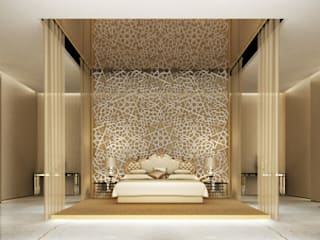 Refined Monochromatic Bedroom Design IONS DESIGN Eclectic style bedroom Marble Amber/Gold