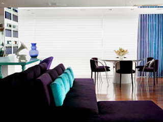 Brunete Fraccaroli Arquitetura e Interiores Living room Purple/Violet