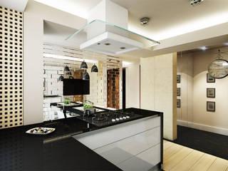 Aranżacja wnętrza kuchni w Pruszkowie w nowojorskim stylu -Tissu. Nowoczesna kuchnia od TISSU Architecture Nowoczesny