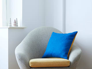 Lane Twin Tone Tweed Cushion - Ionian Sea Blue & Mustard Yellow:   by Lane