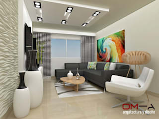 Living room by om-a arquitectura y diseño,