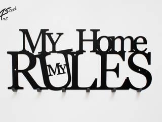 Wieszak na ubrania My Home my rules, pomysł na prezent Art-Steel Ściany i podłogiDekoracje ścienne Żelazo/Stal Czarny