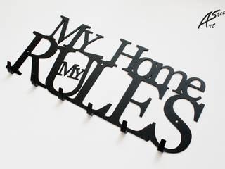 Wieszak na ubrania My Home my rules, pomysł na prezent Art-Steel Korytarz, hol i schodySzafy i wieszaki Żelazo/Stal Czarny