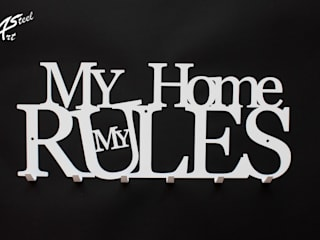 Wieszak na ubrania My Home my rules, pomysł na prezent Art-Steel Ściany i podłogiDekoracje ścienne Żelazo/Stal Biały