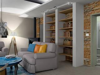 pokój dzienny w stylu vintage: styl , w kategorii Salon zaprojektowany przez BB Projekt